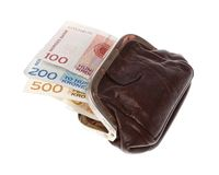 Purse with Norwegian banknotes Royalty Free Stock Photos