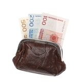 Purse with Norwegian banknotes Royalty Free Stock Images