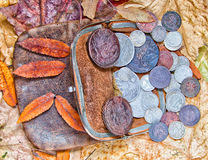 Purse. Old leather purse with silver coins of tsars of House of Romanovs of 18-20 centuries Stock Photo