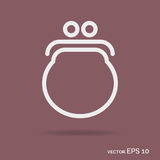 Purse outline icon white color isolated on background Stock Image