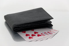 Purse playing cards Stock Image