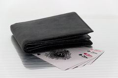 Purse playing cards Royalty Free Stock Image