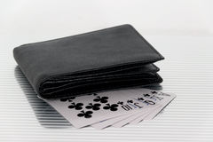 Purse playing cards Stock Photos