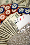 Purse, Poker, Chips And Cards Stock Photos