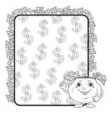 Purse and poster with dollars, contours Royalty Free Stock Image