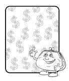 Purse and poster with dollars, contours Stock Photo