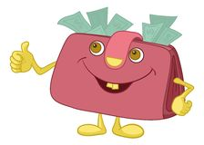 Purse showing thumbs up Royalty Free Stock Image