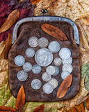 Purse with silver. Old leather purse with silver coins of tsars of House of Romanovs of 19-20 centuries Royalty Free Stock Photography