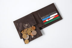 Purse with small change - ruble Royalty Free Stock Photo