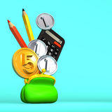 Purse And Stationeries With 5+3 Coins On Blue Text Space.  Royalty Free Stock Image