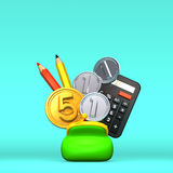 Purse And Stationeries With 5+3 Coins On Blue Text Space Front View.  Royalty Free Stock Image
