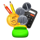 Purse And Stationeries With 5+3 Coins Front View Royalty Free Stock Image
