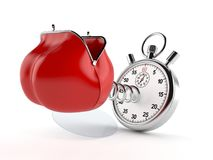 Purse with stopwatch. On white background stock illustration