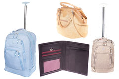 Purse, suitcase and lady's bag Royalty Free Stock Photography