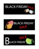 Purse on Three Black Friday Sale Banners Royalty Free Stock Photo