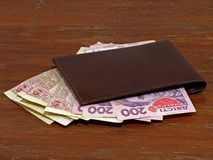 Purse with ukrainian hryvnia banknotes. Purse with ukrainian money hryvnia stock photography