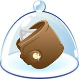 Purse under bell-glass concept Stock Images