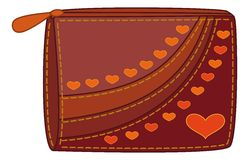 Purse with valentine hearts Royalty Free Stock Photography
