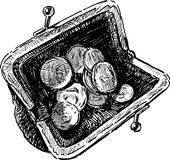 Purse. Vector drawing of an old purse with coins Royalty Free Stock Image