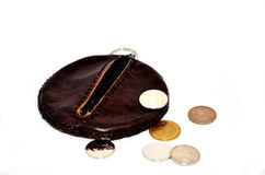 Purse or Wallet and coin thai bath Stock Photo