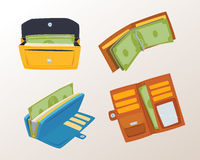 Purse wallet with money vector ico for shopping buy business financial payment bag and accessory object trendy cash Royalty Free Stock Image