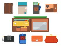 Purse wallet vector money shopping buy business financial wallets payment bag and wallet accessory trendy cash wealth. Illustration. Elegant trendy consumerism Royalty Free Stock Images