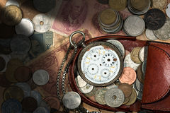 Free Purse With Broken Pocket Watch And Coins Stock Photos - 81183793