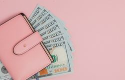 Free Purse With One Hundred Dollars Banknotes On Pink Background. Flat Lay, Top View, Copy Space Stock Photography - 119914552