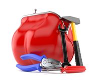 Purse with work tools. Isolated on white background. 3d illustration Stock Image
