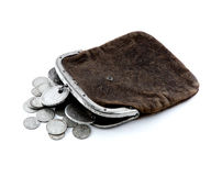 Purse y. Old leather purse with silver coins of tsars of House of Romanovs of 18-19 centuries Stock Photo