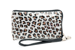 Purse with zipper in varnished leopard Stock Photography