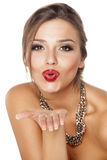 Pursed lips and a necklace Royalty Free Stock Photo
