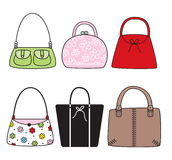 Purses. Six trendy cute purses. green, pink, red, black, white, brown Stock Photography