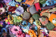 Purses. 100's of colorful purses on a market  in denmark Royalty Free Stock Image