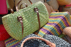 Purses. A large group of hand made bags Royalty Free Stock Photography