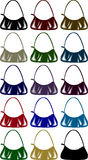 Purses. A collection of ladies hand bags Stock Photo