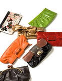 Purses fashion composition. Isolated on white background Royalty Free Stock Photography