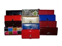 Purses female. Colorful female purses  isolated on white Stock Photography