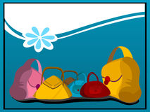 Purses and flower on curve Royalty Free Stock Photo