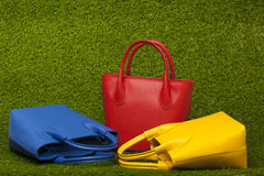 Purses on green grass Royalty Free Stock Photos