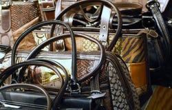 Purses and handbags on display Stock Photo