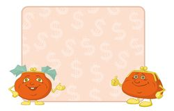 Purses and poster with dollars Stock Photography