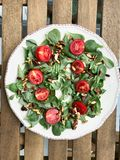 Purslane Salad with Walnut, Pine Nuts, Cherry Tomatoes and Olive Oil royalty free stock photos