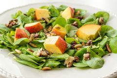 Free Purslane Salad With Peach Fruit, Roasted Walnuts And Pine Nuts Royalty Free Stock Photography - 152571467