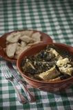 Purslane soup with codfish Stock Images