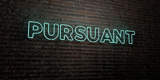 PURSUANT -Realistic Neon Sign on Brick Wall background - 3D rendered royalty free stock image Royalty Free Stock Photos