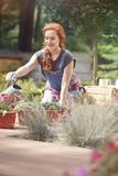 Pursuing a gardening career. Woman pursuing a gardening career, working on a sunny wooden terrace Stock Images