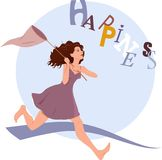 Pursuing happiness. Young woman running after flying word happiness with a butterfly net Stock Photos