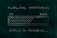 Pursuing happiness progress bar loading Stock Photos