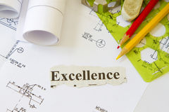 Pursuit of excellence. Abstract with engineering tools and hard hat Royalty Free Stock Images